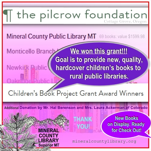 Mineral County Library wins The Pilcrow Foundation Childrens New Books Grant