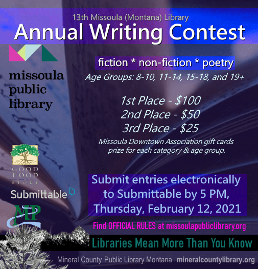Writing Contest through the Missoula Library for kids 8 years and older!
